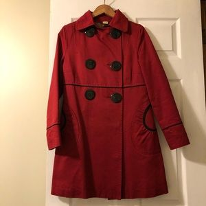 Soia & Kyo Cotton Belle Empire Trench coat, red